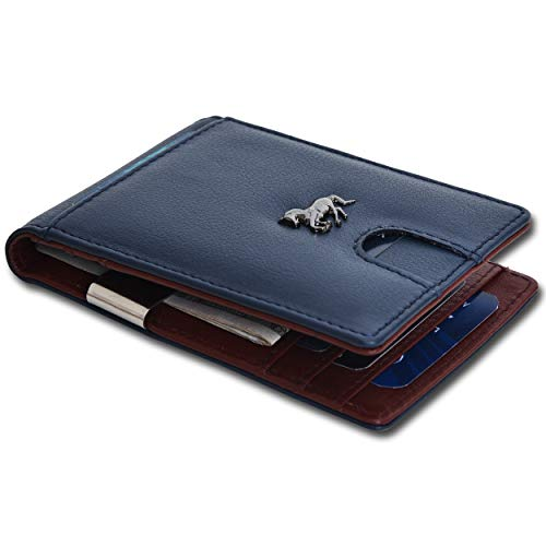 Money Clip Wallets for Men - RFID Blocking Real Leather Minimalist Card Holder