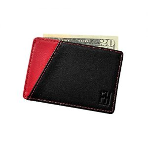 F&H Signature RFID Minimalist Sleeve in Top Grain Leather (Black/Red)