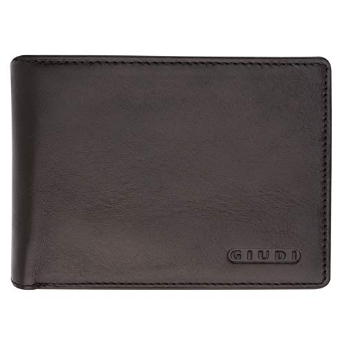 Giudi Deluxe Black Trifold Mens Wallet – Beautiful Soft Touch Genuine Leather – Ultimate Minimalist Design – Extra Capacity – 12 Business Credit Card Holder – ID Window – Splendid Gift for Men