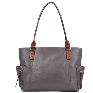 Genuine Leather Purses and Handbags for Women Designer Large Tote Ladies Top Handle Shoulder Bag Gray
