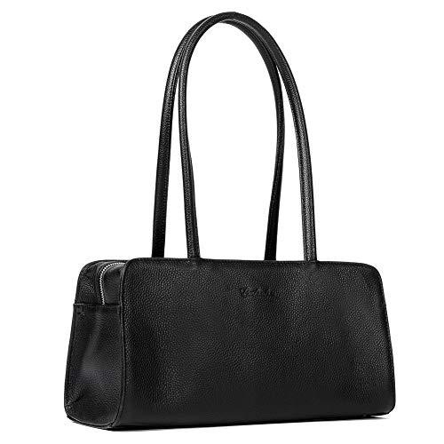 BOSTANTEN Women Designer Handbags Genuine Soft Leather Top Handle Purses and Handbags Satchel Shoulder Bag Black