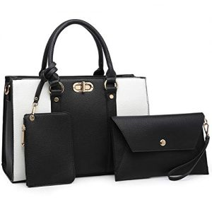Dasein Women Handbags Top Handle Satchel Purse with Matching Wallet Set 3Pcs (Black/White)