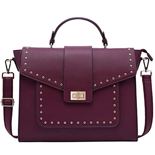 Laptop Bag for Women,15.6 Inch Laptop Tote Bag Briefcase Laptop Satchel Shoulder Bags with Detachable Widened Strap for Work Weekend (Burgundy)