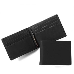 Leatherology Black Oil Men's Slim Bifold Wallet with Money Clip, RFID Available, Full Grain Leather
