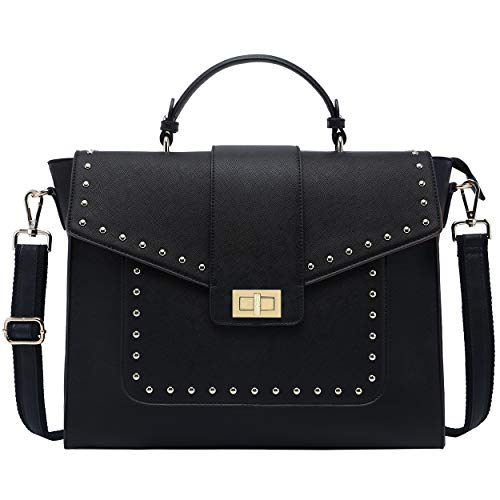 15.6 Inch Laptop Briefcase for Women,Classic Black Work Bag Laptop Messenger Bag Satchel Computer Bags,Perfect for Work Business Travel School,Black