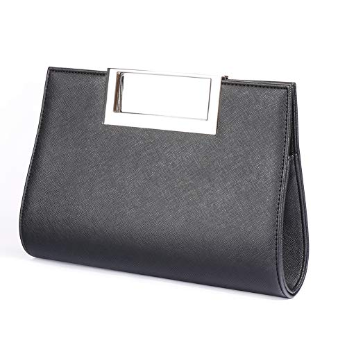 WALLYN'S Clutch Purse for Women Evening Party Metal Grip Cut it out Handbag with Shoulder Chain Strap, Black, Large