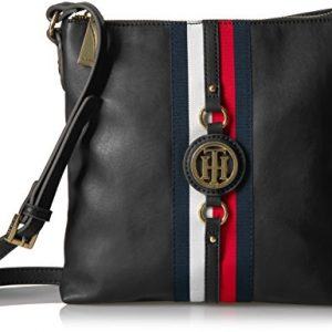 Tommy Hilfiger Crossbody Bag for Women Jaden, Black Polyvinyl Chloride