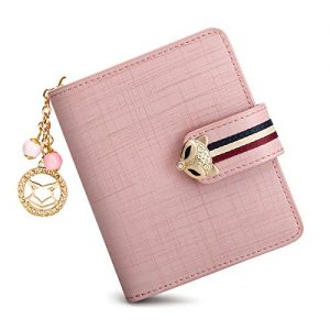 Leather Small Wallets for Women, Genuine Leather Gift Box Packing Ladies Cute Purses with Zipper Coin Pocket Women's Zip Around Wallets Girls Mini Wristlets Wallets Compact Credit Card Holders (Pink)