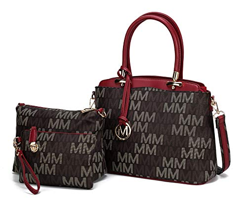 Mia K Collection 3-PC Set, Shoulder Handbag, Crossbody for Women, Wristlet Purse PU Leather Satchel Bag Pocketbook Red