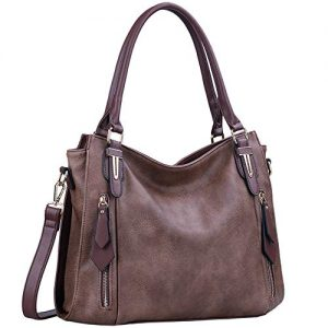 Handbags for Women Shoulder Tote Zipper Purse PU Leather Top-handle Satchel Bags Ladies Medium Uncle.Y (Coffee)