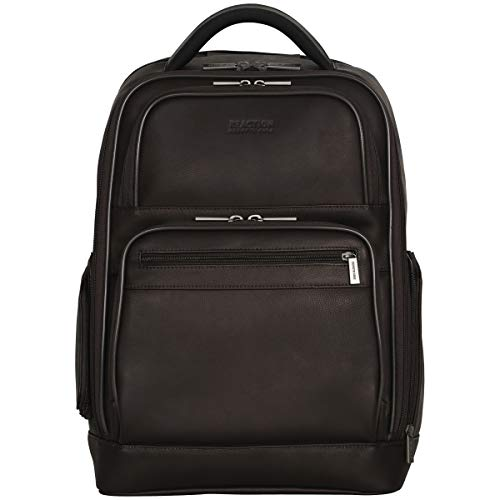"""Kenneth Cole Reaction Colombian Leather Dual Compartment 15.6"""" Laptop Anti-Theft RFID Business Backpack, Brown"""