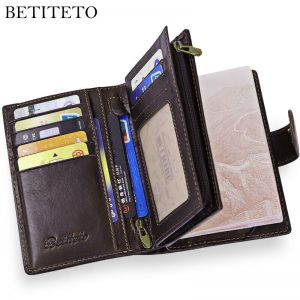 Leather Men Wallet Male Passport Wallet Coin Purs
