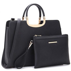 Women's Fashion Handbag Shoulder Bag Hinged Top Handle Tote Satchel Purse Work Bag with Matching Wallet (5-pebbled Black Pouch Set)