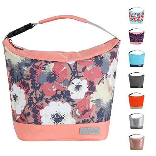 MIER Small Lunch Bag Purse Insulated Leakproof Cooler Lunch Tote for Kids Girls Boys Women Men to School Work Travel Gym, Buckle Handle, Apricot & Anemone