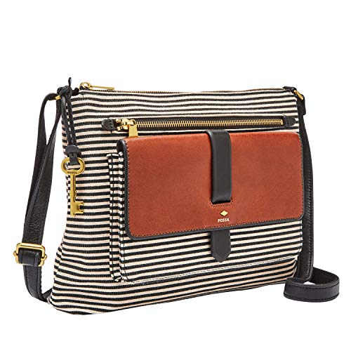 Fossil Women's Kinley Fabric Crossbody Handbag, Black Stripe