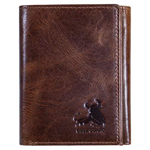 Bull Guard Best Leather Men's RFID Trifold Wallet With ID Great Outdoor Wallet