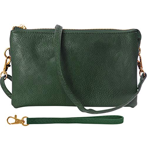 Humble Chic Vegan Leather Wristlet Clutch or Small Purse Crossbody Bag, Includes Adjustable Shoulder and Wrist Straps, Hunter Green, Dark Green, Forest, Olive