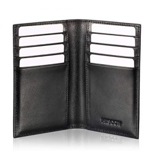 Slim Leather Credit Card Holder for Men & Women 8cc, Italian Calfskin (Black)