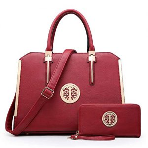 Women's Fashion Shoulder Bag Structured Top Handle Satchel Work Handbag W/Wallet (03-burgundy wallet set)