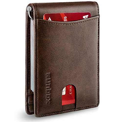 RUNBOX Minimalist Slim Wallet for Men with Money Clip RFID Blocking Front Pocket Leather Mens Wallets(coffee)