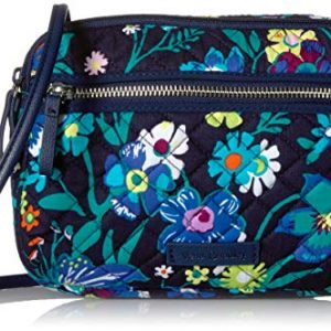 Vera Bradley Signature Cotton Little Crossbody Purse with RFID Protection, Moonlight Garden