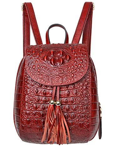 PIJUSHI Leather Backpack For Women Crocodile Bags Fashion Casual Backpack Purses(B 66810 dark red)