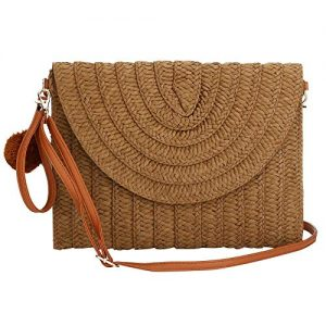 Weave Handbag,Straw Clutch Summer Evening Handbag Summer Beach Party Purse Woven Straw Bag Envelope (Coffee color)