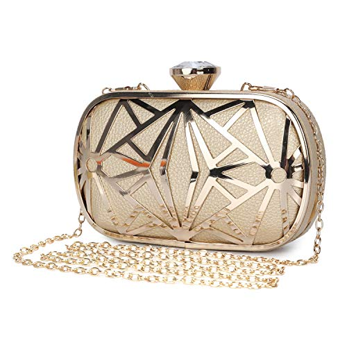 Clocolor Women Evening Bags Exquisite Leather Handbag Metal Hollow Designer Wedding Party Clutch Purse