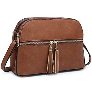 Dasein Women Tassel Zipper Pocket Crossbody Bag Shoulder Purse Fashion Travel Bag with Multi Pockets(1-Brown)