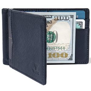 YBONNE Mens New Slim Wallet with Money Clip Front Pocket RFID Blocking Bifold Leather Card Holder Minimalist Mini Billfold Gift Box