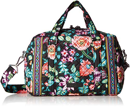 Vera Bradley Women's Signature Cotton 100 Satchel Purse, Vines Floral, One Size