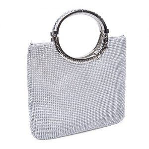 CLOCOLOR Womens Crystal Rhinestone Evening Bags Wedding Clutch Purse with Bow Frame Silver not too big nor too small,can fit my make up kit
