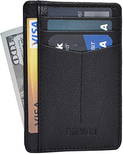 Minimalist Wallet for Men and Women - Genuine Leather RFID Secured Card Case (Leather, Phantom)