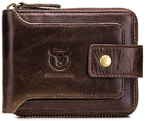 Mens Genuine Leather Zipper Wallet RFID Blocking Bifold Zip Around Multi Credit Card Holder (brown)