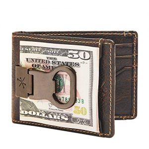 HOJ Co. Bottle Opener Front Pocket Wallet For Men | Full Grain Leather | Bifold Wallet With Money Clip | Wallet With Clip | Novelty Men's Wallet