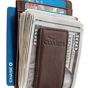 Money Clip - Men's Leather Wallet Slim Front Pocket RFID Blocking with Super Strong Magnetic
