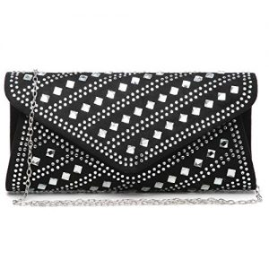 Dasein Rhinestone Evening Bags Glitter Clutch Handbags Studded Envelope Purses for Prom Party Wedding Black
