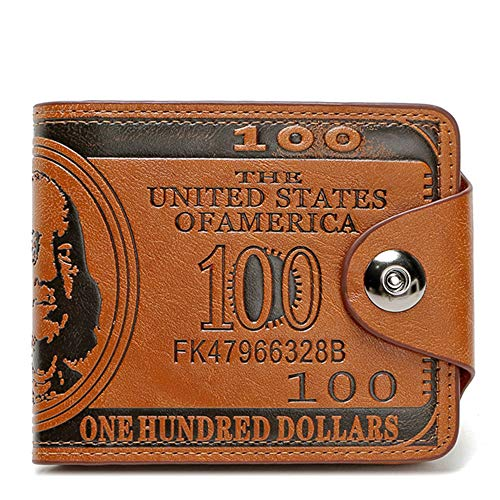 Men's Novelty US 100 Dollar Wallet Bill Money Bifold Safe Purse With Magnetic Buckle-Sibalasi (Brown)