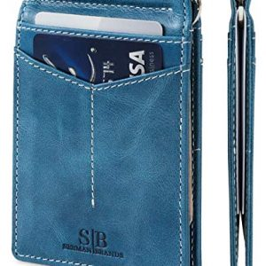 SERMAN BRANDS RFID Blocking Wallet Slim Bifold - Genuine Leather Minimalist Front Pocket Wallets for Men with Money Clip (Arctic Blue Rogue)