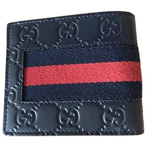 Gucci Navy Blue Red Web Leather Wallet Flap Bifold Authentic Stripe Box Italy New