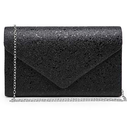 Women Glistening Evening Clutch Bags Formal Party Clutches Wedding Purses Cocktail Prom Clutches Black Silver Hardware