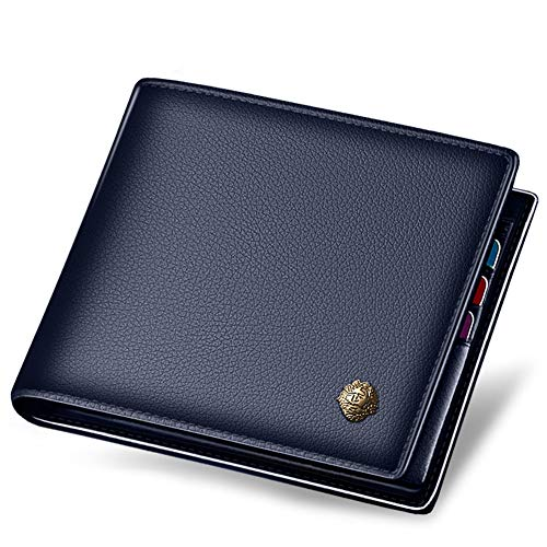 LAORENTOU Men's Wallets, Genuine Cow Leather RFID Blocking Gift Box Packaging Leather Mens Bifold Wallets with Zipper Coin Pocket Casual Men Purse Slim Short Wallet Gift for Father Birthday(Dark Blue)