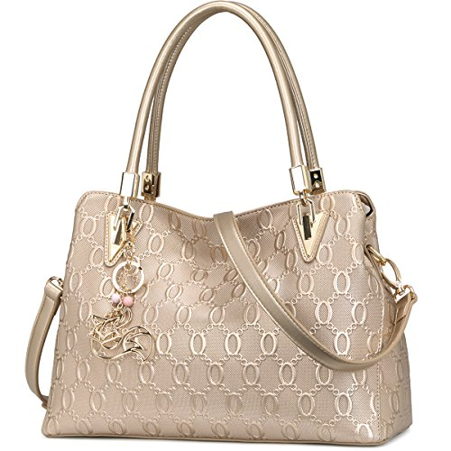Leather Handbags for Women, Genuine Leather Large Capacity Ladies Top-handle Bags with Adjustable Shoulder Strap Women's Designer Tote Bags Womens Real Leather Crossbody Purses and Handbags (Gold)