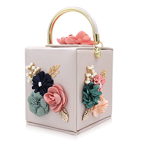 Milisente Evening Clutch Bag for Women Floral Square Box Evening Bags Crossbody Shoulder handBags Flower Wedding Clutch Purse (Beige)