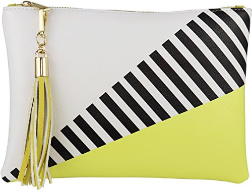 B BRENTANO Vegan Clutch Bag Pouch with Tassel Accent (Yellow)