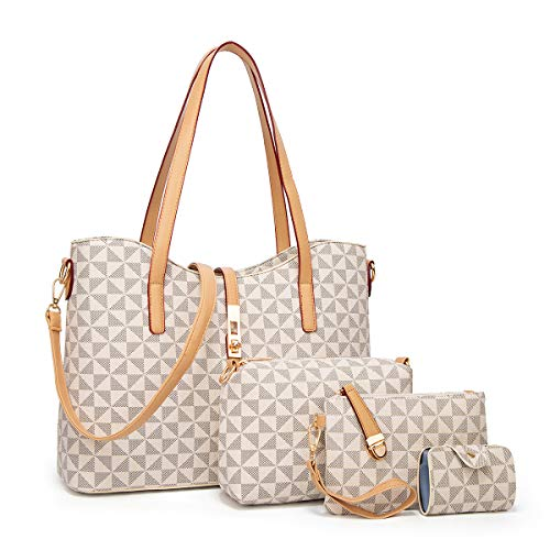 YTL Women Fashion Synthetic Leather Handbags+Shoulder Bag+Purse+Card Holder 4pcs Set Tote (Large, Beige-Checkered-A)