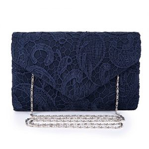 UBORSE Women's Elegant Floral Lace Envelope Clutch Evening Prom Handbag Purse Navy Blue?