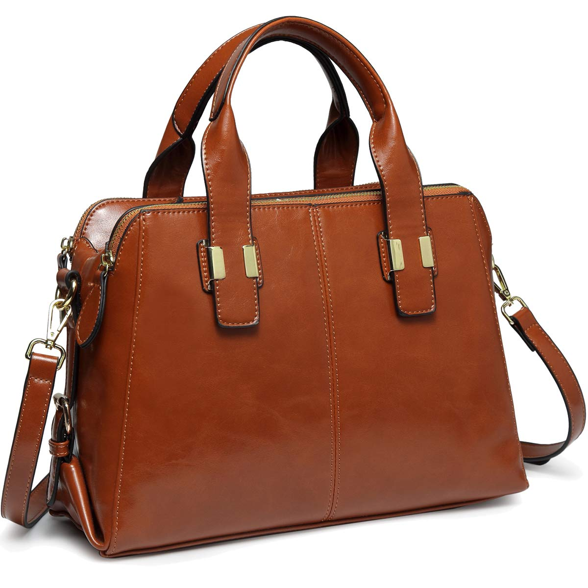 Satchel Bag for Women, VASCHY Faux Patent Leather Top Handle Handbag Work Tote Purse with Triple Compartments Brown