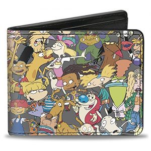 Buckle-Down PU Bifold Wallet - Nick 90's Rewind Mutli Character Mash Up Collage Gray