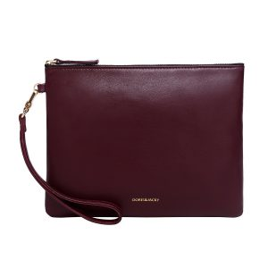Soft Lambskin Leather Wristlet Clutch Bag For Women Designer Large Wallets With Strap(Wine Red)